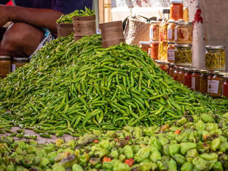 piment de La Réunion sur le marché de saint-paul