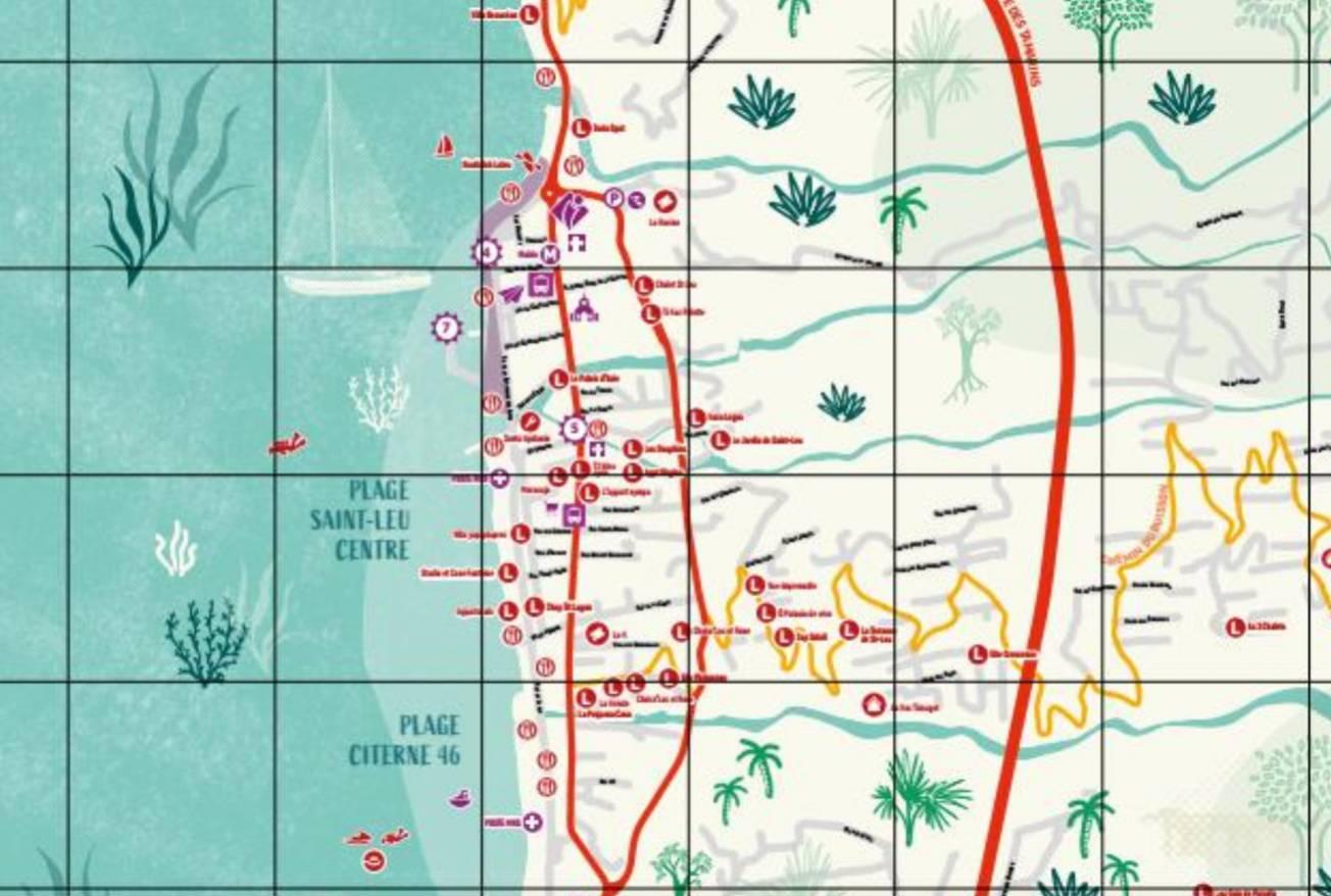 la carte touristique de Saint-Leu centre