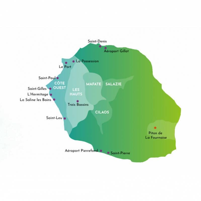 la carte de l'Ouest de l'Ile de La Réunion 974