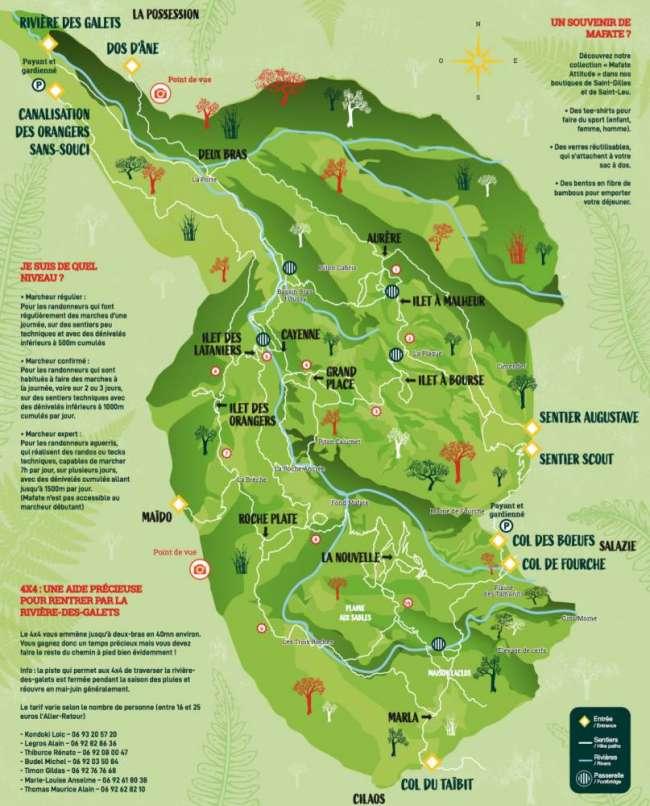 Voir la carte du cirque de Mafate à La Réunion 974