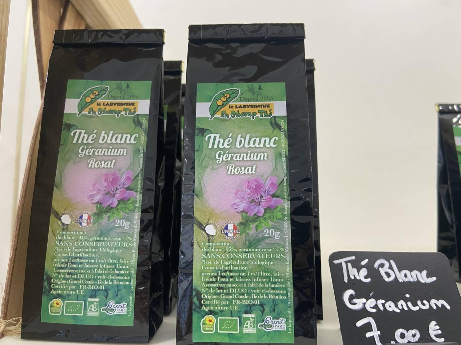 sachet de thé blanc au géranium