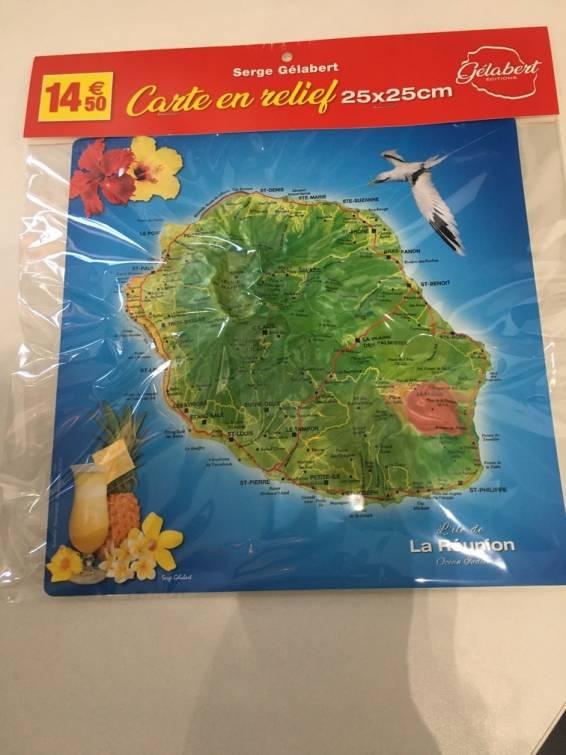 Carte en relief de l'Ile de La Réunion - petit format