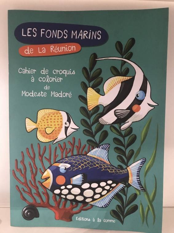 page de couverture du livre de coloriages - Les fonds marins de La Réunion