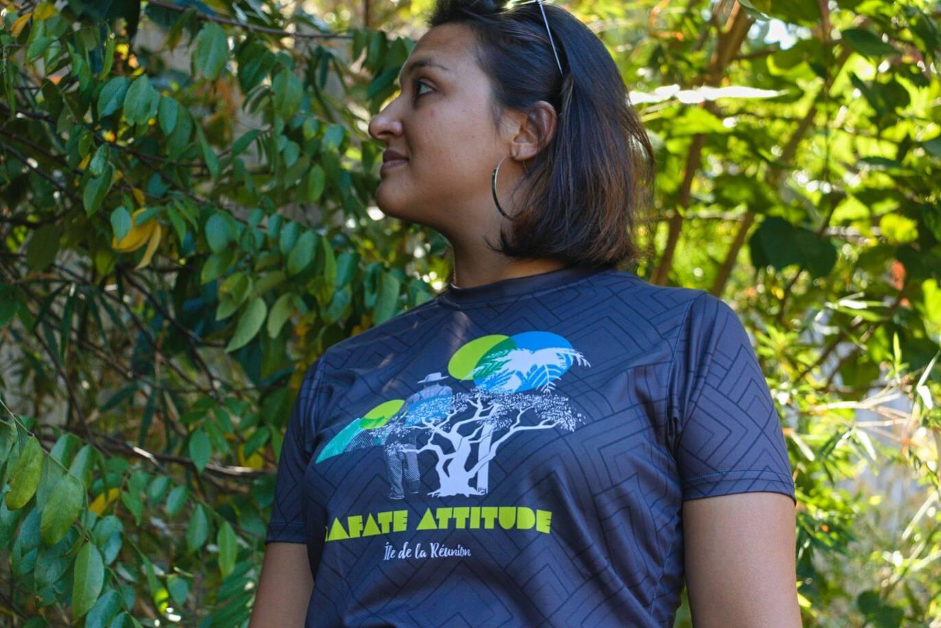 T-Shirt ENGAGÉ : respirant, technique Femme Mafate Attitude - Gris foncé