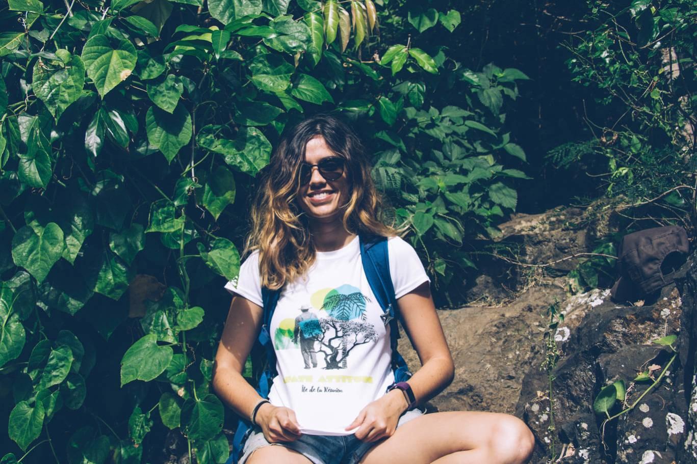 T-Shirt ENGAGÉ : respirant, technique Femme Mafate Attitude - Blanc