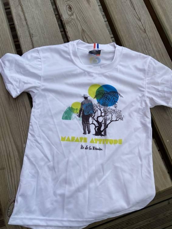 T-Shirt ENGAGÉ : respirant, technique Enfant Mafate Attitude - Blanc