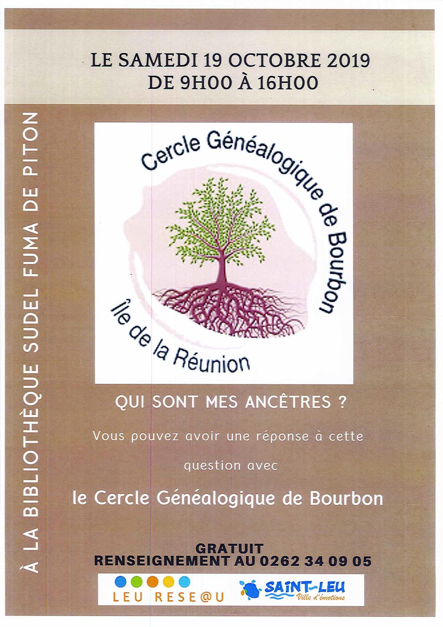 ATELIER GENEALOGIESaint-Leu, agenda, Les communes bougent, Office de Tourisme, Ouest, La Réunion, Ile de La Réunion, 974