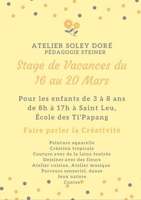ATELIER CREATIF AVEC SOLEY DORÉSaint-Leu, agenda, Les stages et les ateliers, Office de Tourisme, Ouest, La Réunion, Ile de La Réunion, 974