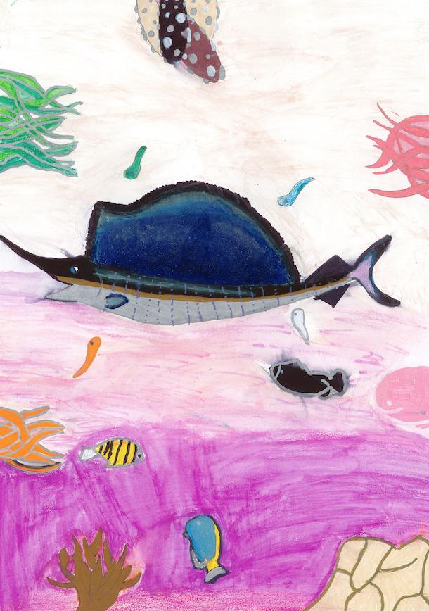 espadon dessiné par une collegienne dans le cadre du festival de l'océan 2020